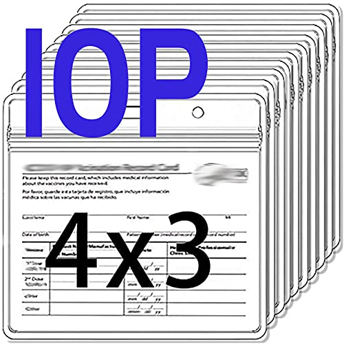 10 Packs Card Protector 4x3 in Record Card Holder 3x4 Horizontal ID Badge Holder,Clear Vinyl Plastic Sleeve Cover Waterproof Resealable Zip for Travel (10P)