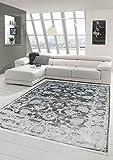Merinos Vintage Teppich modern Wohnzimmerteppich Designteppich mit Fransen in Grau Größe 160x230 cm