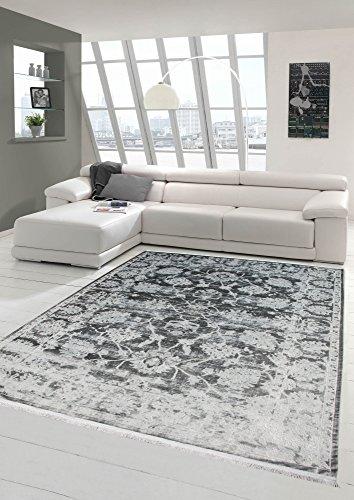 Merinos Vintage Teppich modern Wohnzimmerteppich Designteppich mit Fransen in Grau Größe 200 x 290 cm