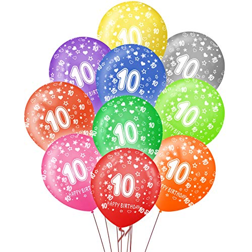 Sunshine smile Luftballons 10 Jahre,40 kunterbunte Luftballons Metallic,Kunterbunte Luftballons,Happy Birthday Dekoration Zahl,Nummerndekoration,Party Kindergeburtstag Happy Birthday Dekoration
