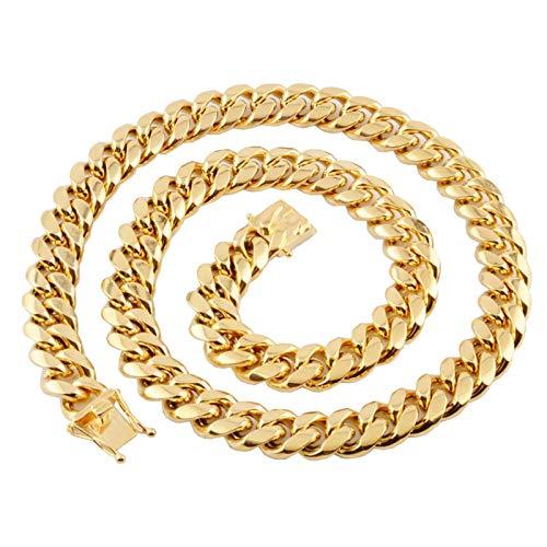 ANAZOZ Herren Panzerkette 61cm 12mm Breit Männer Kette Edelstahl Halskette für Herren Gold Massiv Halskette Herrschsüchtig Länge 46-76cm Wählbar