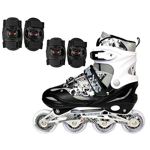 Hipkoo Adjustable Inline Skates (Size 39-42) Large with Protective Set (Elbow & Knee Guard) Skating Kit (Black)
