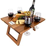 Komorebi Portable Folding Wine and Champagne Picnic Table - Lightweight Custom Acacia Wood Table - Foldable Legs, Food-Safe Top, Bottle & Glass Holders - Perfect for Camping, Beach, Outdoor Dinner