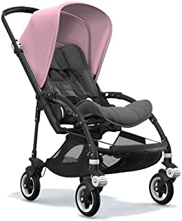 Bugaboo Bee5 Stroller Bundle with Black Base/Grips, Soft Pink Canopy, Grey Melange Seat and White Wheel Caps