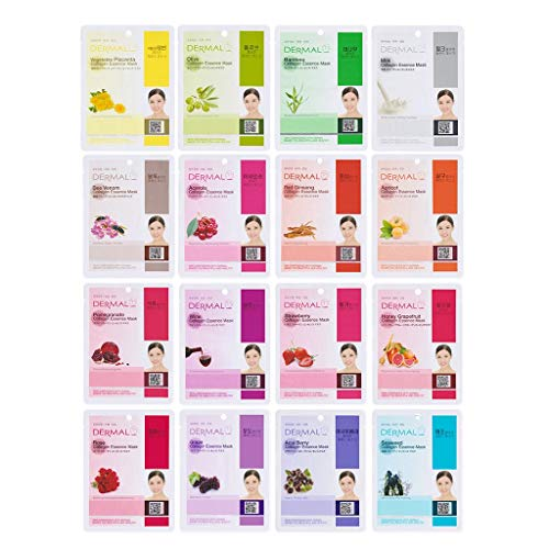 DERMAL 16 Combo Pack Collagen Essence Facial Mask Sheet - Variety Pack 16 Different Hydrating. Plant-based ingredients for maximum skin moisturizing, cleansing, brightening. Daily Skin Supplement
