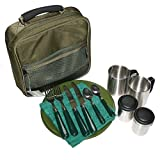NGT Deluxe Cutlery Set Camping Fishing Picnic 2x Plates Knifes Forks & Mugs