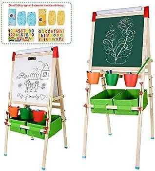 Ciro Kids Wooden Art Easels 3-in-1 Chalkboard/Whiteboard/Paper Roll