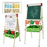 CIRO kids wooden art easels 3-in-1 chalkboard/whiteboard/paper roll (1 apron, 2 gloves, a full set of art supplies accessories)