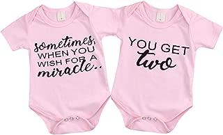 Mini honey 2Pcs Infant Twins Baby Boys Girls Short Sleeve Letter Print Romper Bodysuit Summer Outfit Clothes