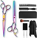 Kit de tijeras de corte de cabello Color 7.0 pulgadas Tijeras de peluquero Galvanoplastia Estilo de mano Peluquería Juego de herramientas de corte de cabello (Tamaño: 7PCS)