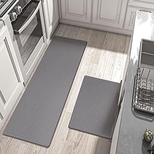 "DEXI Kitchen Rugs and Mats Anti Fatigue Mat Cushioned Comfort Runner Rug Standing Floor Rugs Set of 2,17""x29""+17""x59"", Medium Grey"