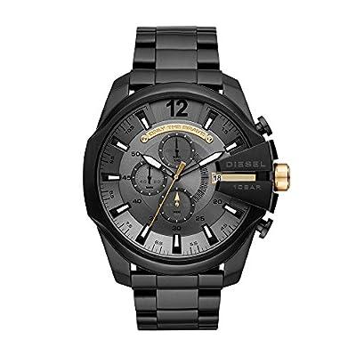 Diesel Men's Watch Mega Chief Quartz Stainless Steel Black with Grey Dial DZ4479