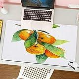 Alfombrilla para ratón (80x30 cm). Mandarina Verde Acuarela Fruta Mandarina Rama Alimentos Bebidas Naturaleza Naranja Zumo de cítricos Pintura Dieta Comer,Base Antideslizante. Especial para Gamer