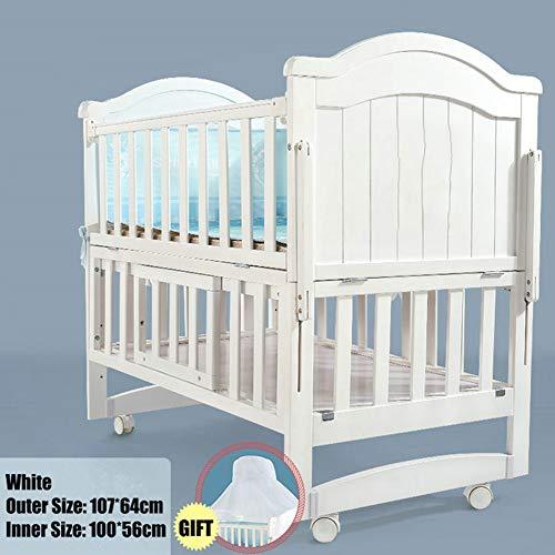 HEEGNPD Kinderbett aus weißem Kiefernholz Länge 110 cm, kann in EIN Juniorbett verwandelt Werden, Babybett kann Schaukelbett Sein, Bett kann auf 160 cm verlängert Werden,A
