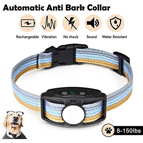 Collare Antiabbaio Cane, Automatico Collare per Addestramento con Regolabile Vibrazione, senza Shock, 5 Livelli di Sensibilità, Ricaricabile e Impermeabile, Nylon Regolabile per cani di taglia diversa