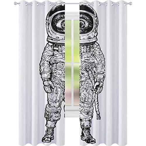 Genomföring mörkläggningsgardiner, konstnärlig detaljerad skiss av fantasy astronaut med stora ögon cyklops Sci-Fi Explorer, W52 x L95 mörkläggningsgardin för barns sovrum, svart vit
