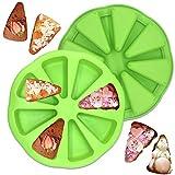 Moule à gâteau en silicone à 8 cavités - Moule à scone en silicone à cavité triangulaire, moule à tranches de pizza pour brownies au pain de maïs, muffins et savon, outil de cuisson de cuisine 2 pièces (vert)