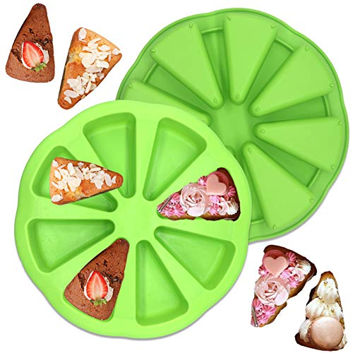 8 Cavity Silicone Portion Cake Mold - Triangle Cavity Silicone Scone Pan,Pizza Slices Pan for Cornbread Brownies Muffins And Soap Kitchen Baking Tool 2Pcs (Green)