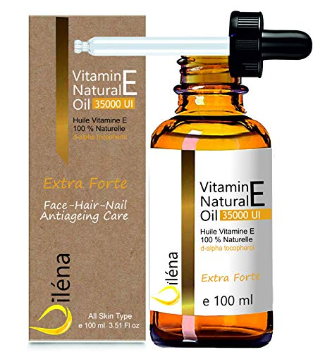 Aceite con Vitamina E. Solución Antiedad Extrafuerte. d-Alpha Tocoferil 35000 UI Complemento 100% natural sin OMG. Para el Cuidado de la Piel, Cabello y Uñas 100 ml