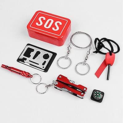 6 in 1 Portable SOS Survival Outdoor Emergency Tools Gear Set Fire Starter Compass Pocket Knife Whistle Multi-function First Aid Kit for Camping/Hiking/Hunting/Mountaineering/Cycling and More from Ginamart