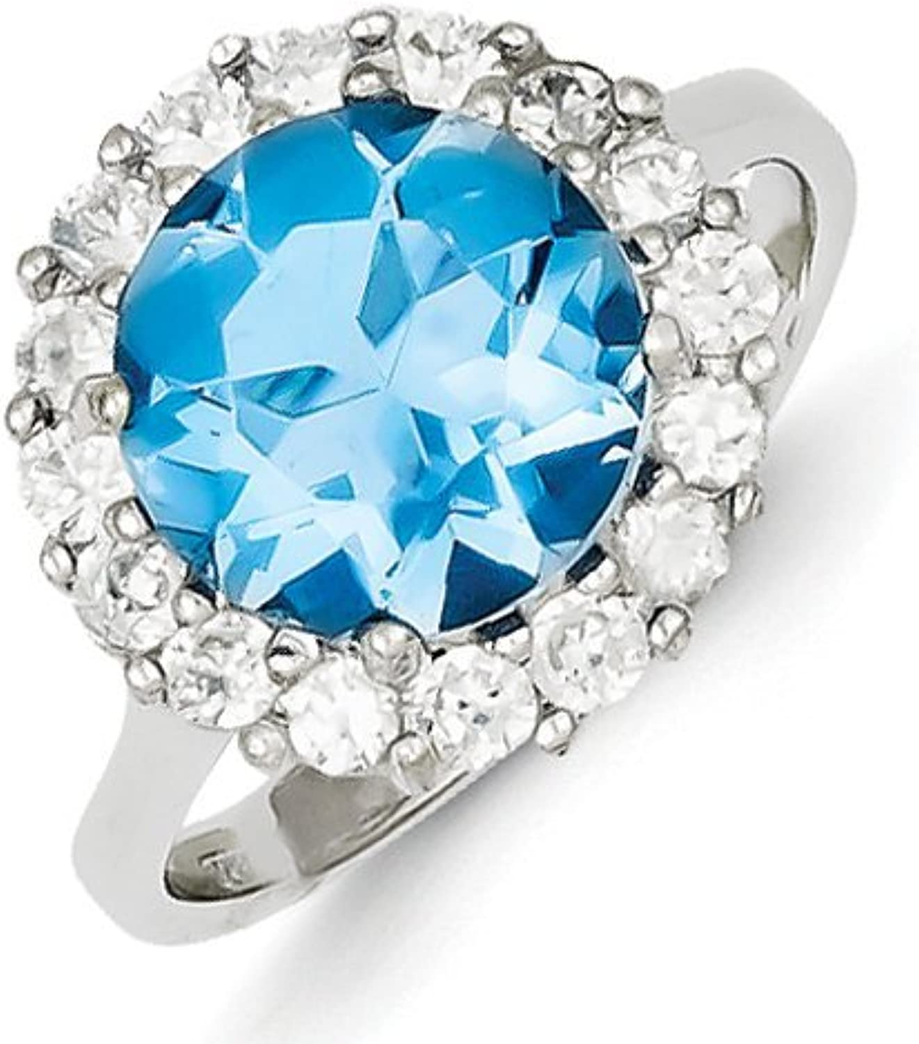 gold and Watches Sterling Silver bluee & Clear CZ Ring