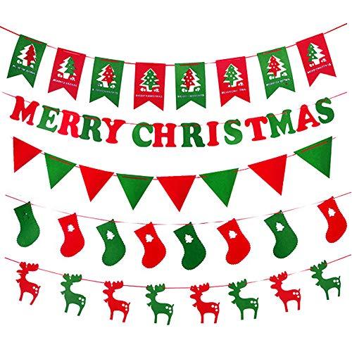 Lim vrolijke kerstbanner decoratie kerstfeest slinger vakantie bunting teken voor open haard muur boom en thuis tuin binnen Outdoor Banner met lint, brieven, Elk, sokken, kerstboom vlag