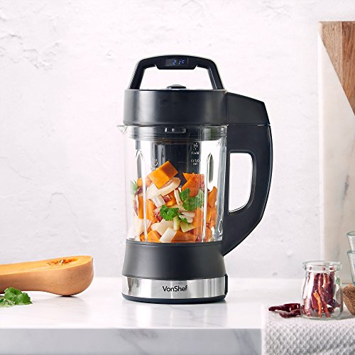 VonShef Multifunctional Digital Soup Maker 900W 1.75L Smoothies & Shakes Machine – Blending Blade – 4 Modes
