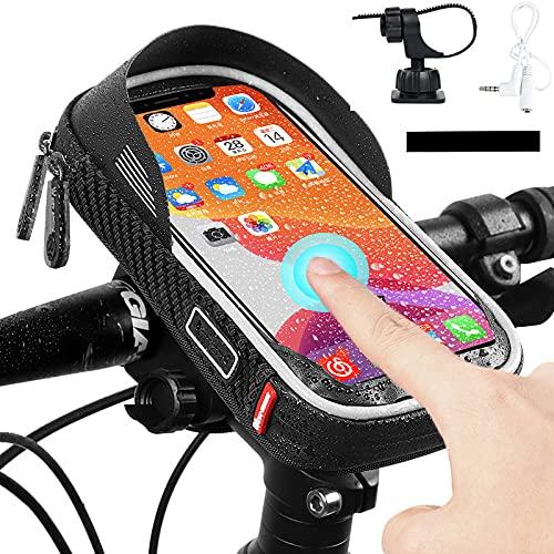 Gtytrxi Bolsa de montaje para teléfono de bicicleta, impermeable, para bicicleta frontal, 360 ° giratorio para manillar de bicicleta, pantalla táctil, soporte para teléfono para teléfono 6.5