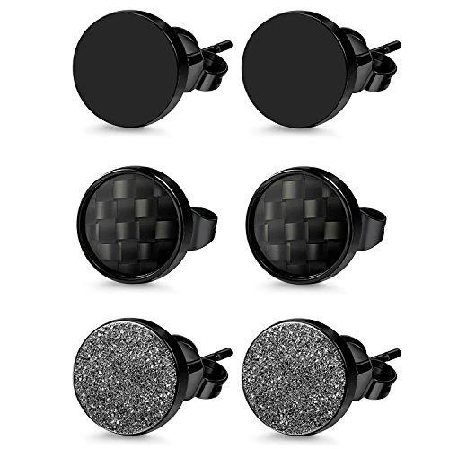 Herren Damen 3 Paare Edelstahl Ohrstecker Set schwarz, OIDEA Punk Rock vintage rund Creolen Ohrringe Set Huggie Piercing Ohr Stecker Durchmesser 6mm 8mm 10mm (8mm)