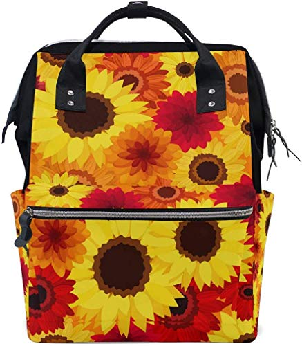 UUwant Sac à Dos à Couches pour Maman Large Capacity Diaper Backpack Travel Manager Baby Care Replacement Bag Nappy Bags Mummy Backpack Bright Autumn Colorful Flowers Pattern School Bag