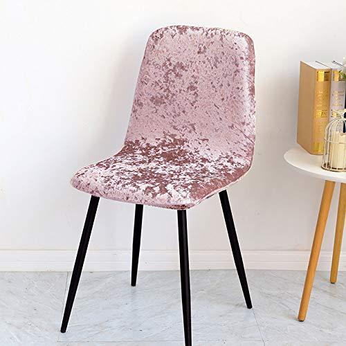 Qier Stuhlhussen Stretch Shell Chair Schonbezug, Shiny Velvet Fabric Sitzdekoration, Büro Bar Chair Protector Covers, Pink, 4-TLG