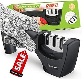 Peakally Kitchen Knife Sharpener,Best Manual Pocket Knife Sharpener Easy to Sharpen Straight,Ceramic,Serrated,Senzu Knives/Blades, Cut-Resistant Glove Included for More Safe Sharpen