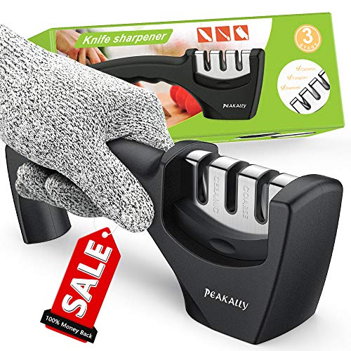 Peakally Best Kitchen Knife Sharpener,Upgraded 3-Stage Blades Sharpener Stone(Ceramic,Coarse,Fine).Best For Chef/Fillet Knives.Easy Manual Sharpener,Cut-Resistant Glove for More Safe Sharpening.