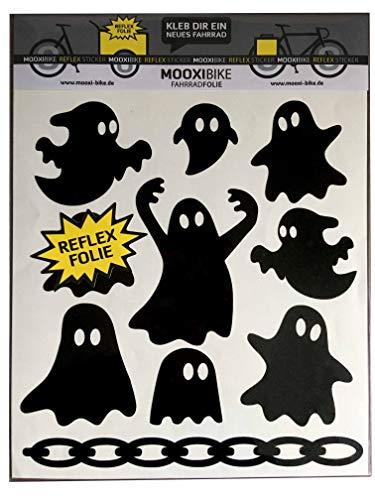 MOOXIBIKE I Sticker Set Ghost schwarz reflektierend, für Cargobike, Lastenrad, Fahrrad, Scooter, Roller & Helm, auch für Rennrad, Trekkingrad, Mountainbike, Hollandrad, Citybike, Rollator & E-Bike