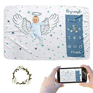 JMITHA Manta para bebé con diseño de hito mensual, fondo de fotos de Navidad, manta para envolver bebés Número de bebé…