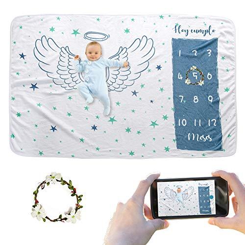 JMITHA Manta para bebé con diseño de hito mensual, fondo de fotos de Navidad, manta para envolver bebés Número de bebé (e-Ala del ángel 1) 100x150cm