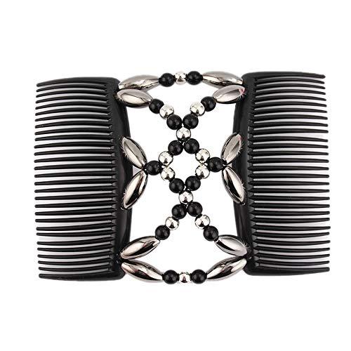 Korne Der Frauen Haarkämme Magie-elastische Haar-clips Stretchy Haare Kämmen Doppel Clips Für Badende Frauen Haarspange Frisur (schwarz)