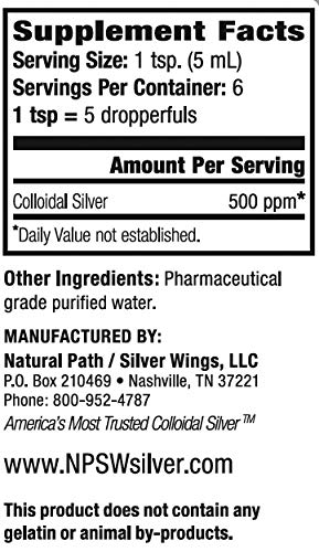 Natural Path Silver Wings Colloidal Silver 500PPM, 1 Fluid Ounce, Amber Brown (CS28A)