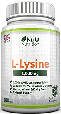 L-Lysine 1000mg – 180 Tablets (6 Month Supply) – Vegetarian and Vegan L-lysine by Nu U Nutrition from Nu U Nutrition