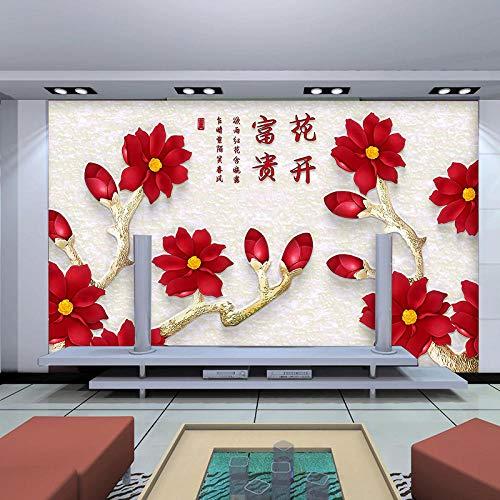 Fotobehang muur Muralscustom Wallpaper Factory Prijs aangepast behang muurschildering Chinese patroon met rode bloemen achter bank tv als achtergrond woonkamer 300 * 210cm