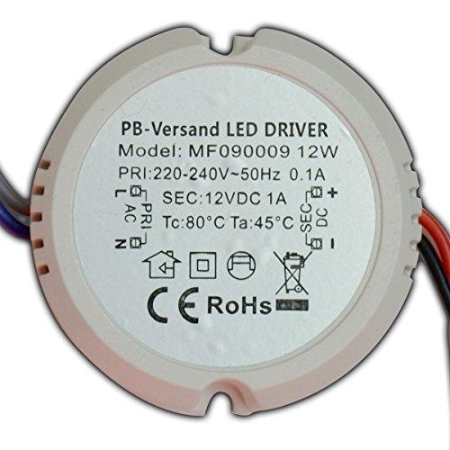 PB-Versand LED Leuchmittel Trafo 12V DC 12 Watt rund für z.B. Unterputzdosen Verteilerdosen Netzteil Treiber Transformator (12 Watt)