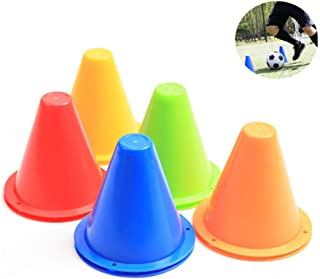 10 Pack Plastic Traffic Cones, 3.35 Inch Soccer Agility Training Multicolor Set, for Skating, Football, Basketball, Indoor...
