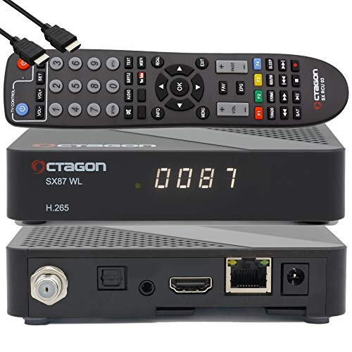 OCTAGON SX87 HD WL H.265 S2+IP HEVC Set-Top Box - Internet Smart TV Receiver, Kartenleser, Mediaplayer, Mediathek, DLNA, YouTube, Web-Radio, iOS & Android App, USB PVR, 150Mbits WiFi + EasyMouse HDMI