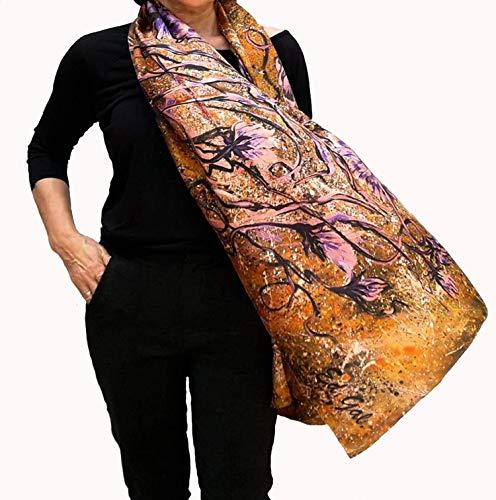 Large Silk Scarf Hand Painted Artistic Fashion Deluxe Shawl for Lady Who Has Everything Long Gold Purple Wedding Wrap Unique Boho Fashion Designer Neck Head Scarfs Any Season Women Birthday Gift Idea