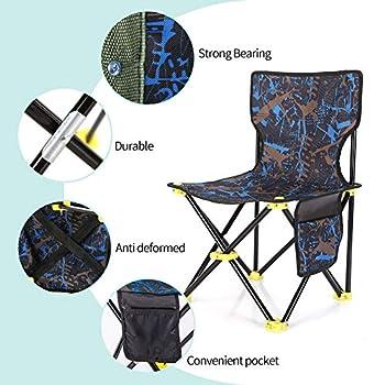 Chaise de camping portable avec poche latérale, chaise pliante légère avec sac de rangement complet pour le camping, la randonnée, le camping, la pêche, les activités de plein air