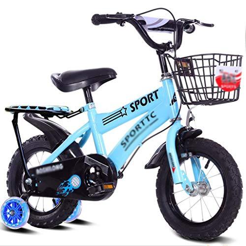 LDDLDG Bicicleta infantil con ruedas de apoyo para niños y niñas de 2 a 9 años de edad, 12, 14, 16 y 18 pulgadas, con rueda de apoyo y cesta, color azul, tamaño: 14 pulgadas