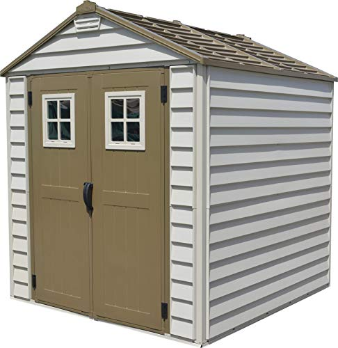 Duramax StoreMax 7' x 7' Plastic Outdoor Storage Shed | Adobe & Brown | Easy to Assemble | Strong Metal Roof Structure | Fire Retardant, Wind and Snow Load Tested & Maintenance-Free Garden Shed