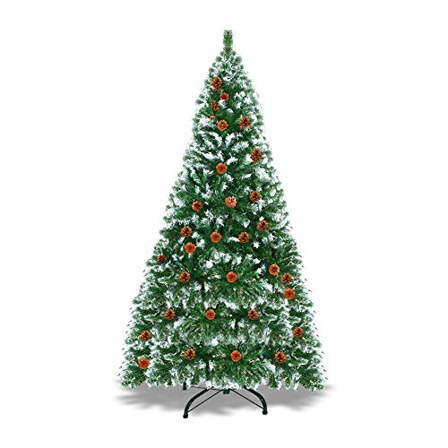 Strong Camel 7' Artificial Christmas Tree - 1003 Tips w/39 Pinecones Snow Tipped Spruce Artificial Tree,Green