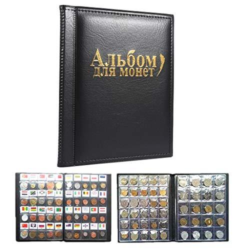 Yosooo - 10 páginas de álbumes de Monedas, 250 Bolsillos, para Guardar Monedas, colección de Monedas, Libro en Ruso, Negro