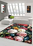 Teppich-Traum Alfombra Flores salón Alfombra Ramo Negro Crema Rojo Größe 160x230 cm